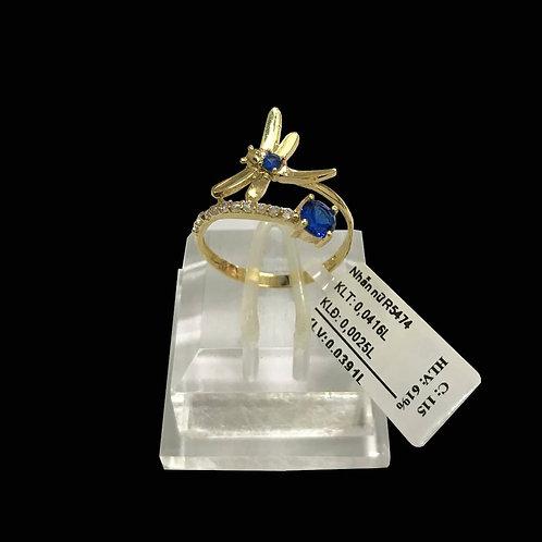 Nhẫn Chuồn Chuồn vàng đá xanh biển VJC 610