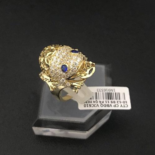 Nhẫn cóc vàng đá Xanh biển VJC 610