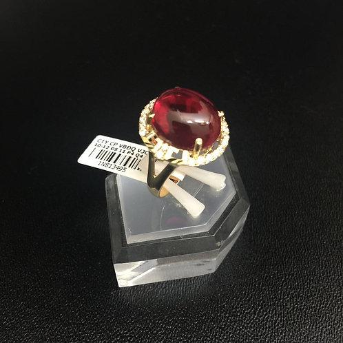 Nhẫn vàng nữ đá đỏ cabochon VJC 610