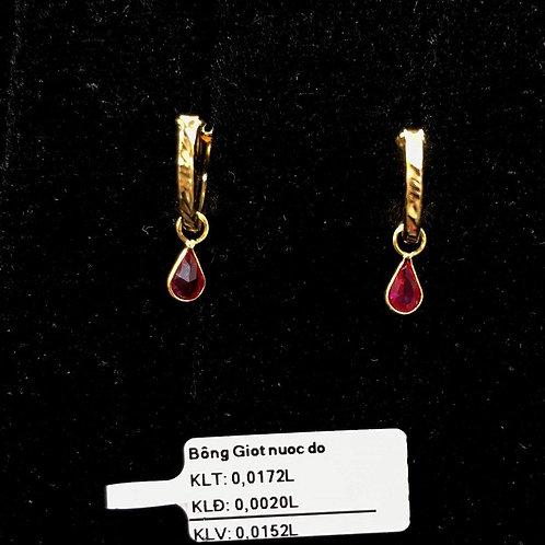 Bông tai vàng đá đỏ giọt nước VJC 610