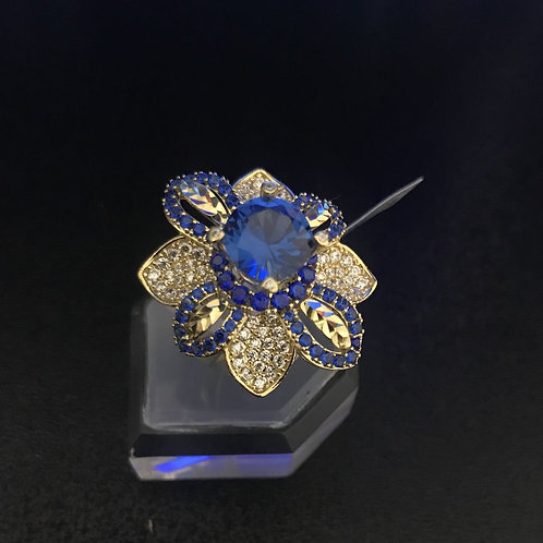 Nhẫn vàng hoa nữ đá Xanh biển VJC 610