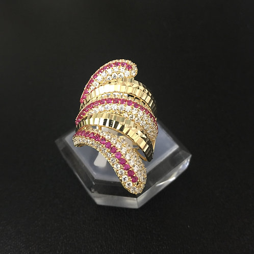 Nhẫn vàng nữ đá tấm đỏ VJC 610