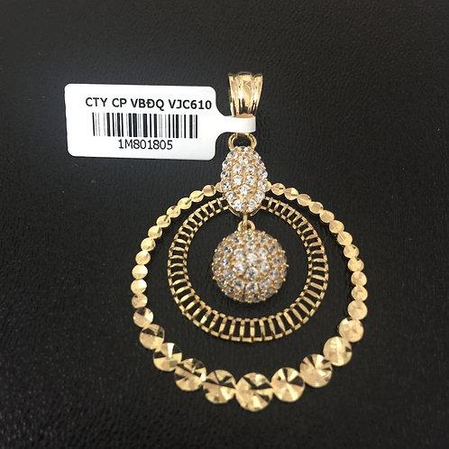 Mặt dây chuyền vàng hai vòng tròn VJC 610