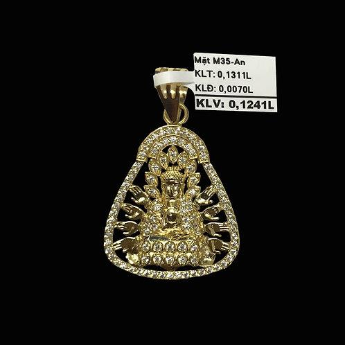 Mặt dây Phật Bà vàng đá trắng VJC 610