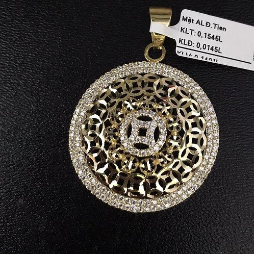 Mặt dây đồng tiền vàng đá trắng