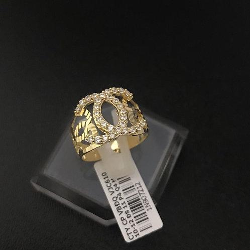 Nhẫn vàng nữ đá tấm trắng Chanel VJC 610
