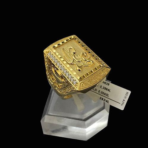 Nhẫn nam chữ Lộc vàng đá trắng VJC 610
