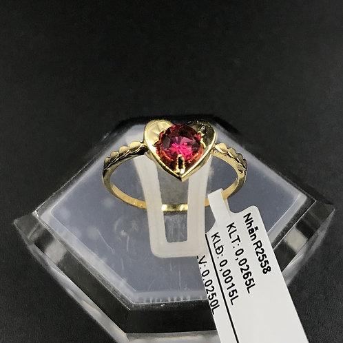 Nhẫn nữ tim vàng đá đỏ