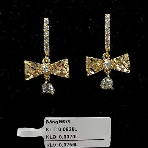 Bông tai nơ vàng đá trắng VJC 610