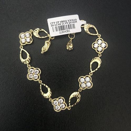 Lắc tay nữ hoa vàng đá trắng VJC 610