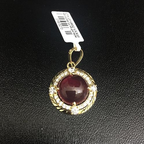 Mặt dây chuyền vàng đá đỏ cabochon VJC 610