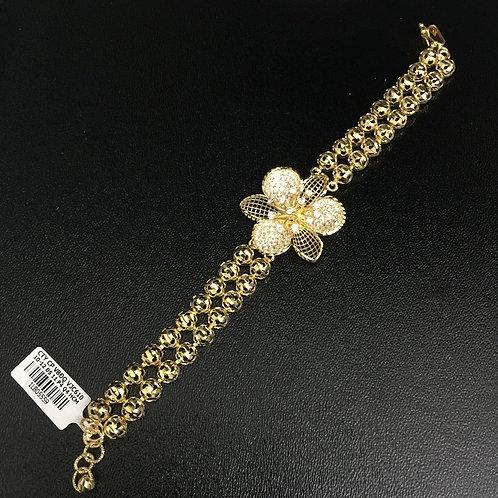 Lắc tay vàng bi dây đôi hoa VJC 610