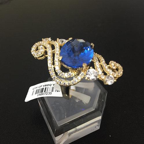 Nhẫn vàng nữ đá xanh nước biển VJC 610