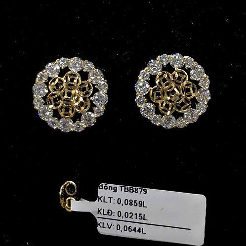 Bông tai hoa đồng tiền vàng đá trắng VJC 610