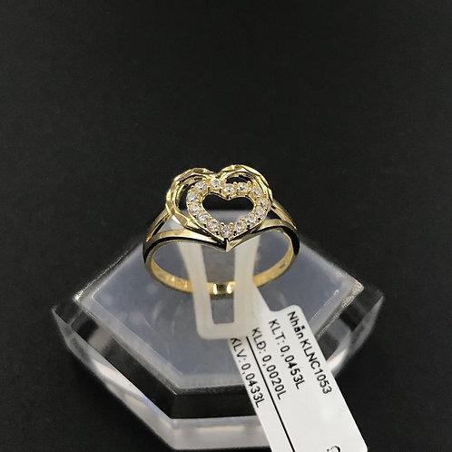 Nhẫn nữ trái tim vàng đá trắng VJC 610