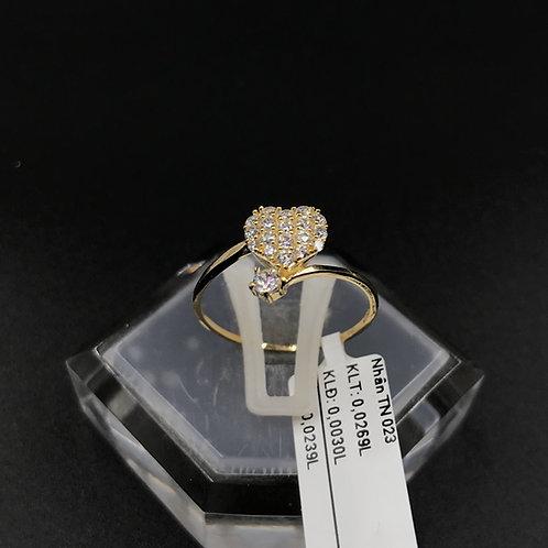 Nhẫn nữ tim vàng đá trắng