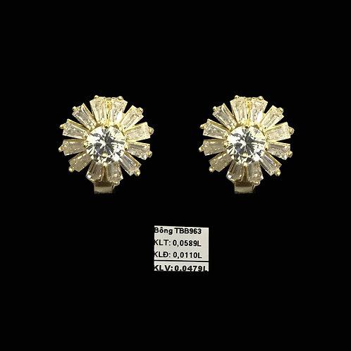 Bông tai hoa vàng đá trắng VJC 610