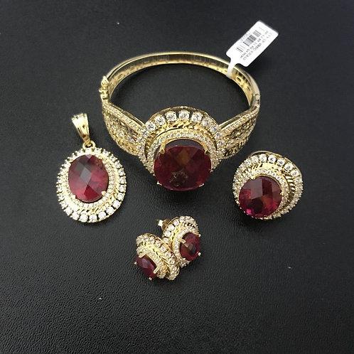 Bộ Trang sức Vàng hoa đá đỏ VJC 610