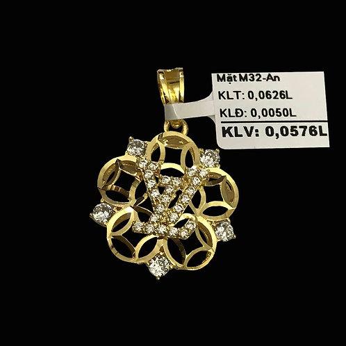 Mặt dây LV vàng đá trắng VJC 610