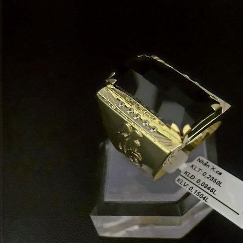 Nhẫn nam vàng chữ Phúc đá đen
