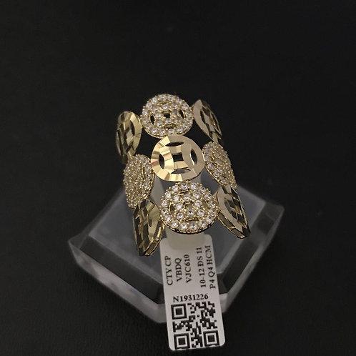 Nhẫn đồng tiền vàng đá trắng VJC 610