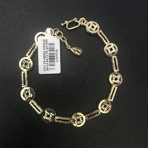 Lắc tay nữ đồng tiền vàng đá trắng - VJC 610