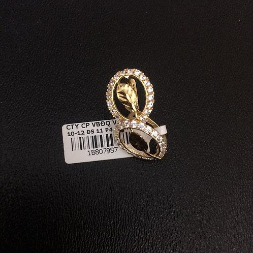 Bông tai vàng đá trắng chiếc lá VJC 610