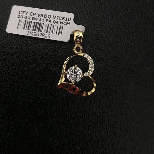Mặt dây trái tim vàng đá trắng VJC 610