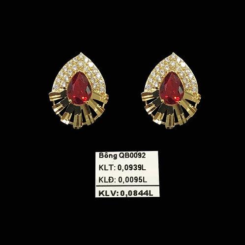 Bông tai vàng đá đỏ VJC 610