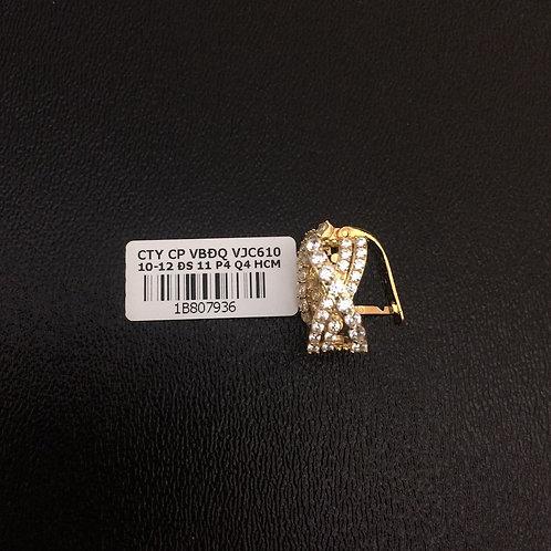 Bông tai vàng đá tấm trắng VJC 610