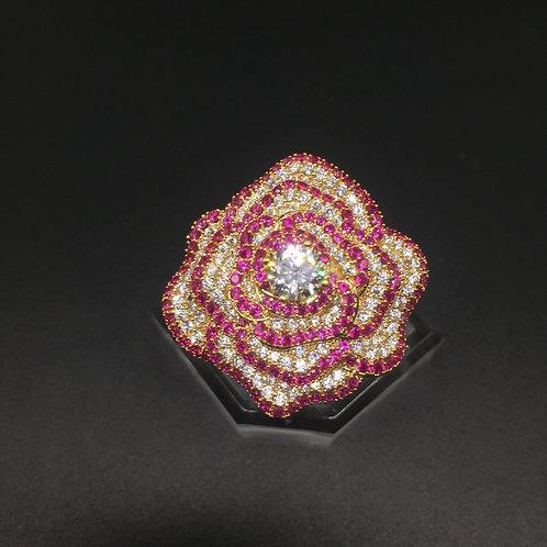 Nhẫn vàng nữ hoa đỏ VJC 610
