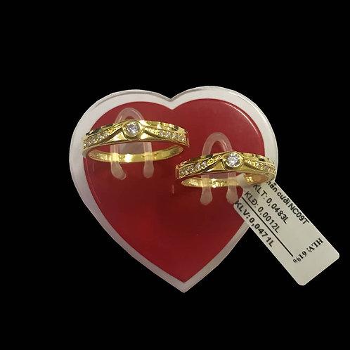 Cặp Nhẫn cưới vàng đá trắng VJC 610