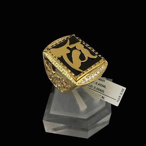 Nhẫn nam chữ Tài vàng đá đen VJC 610