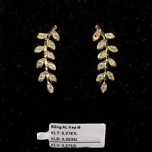 Bông tai cành lá vàng đá trắng VJC 610