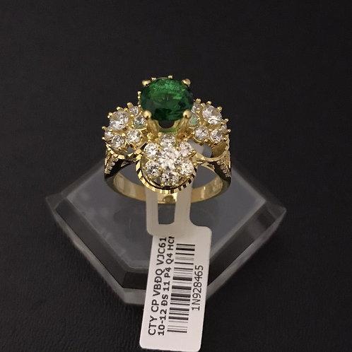 Nhẫn nữ hoa vàng đá xanh lá cây VJC 610