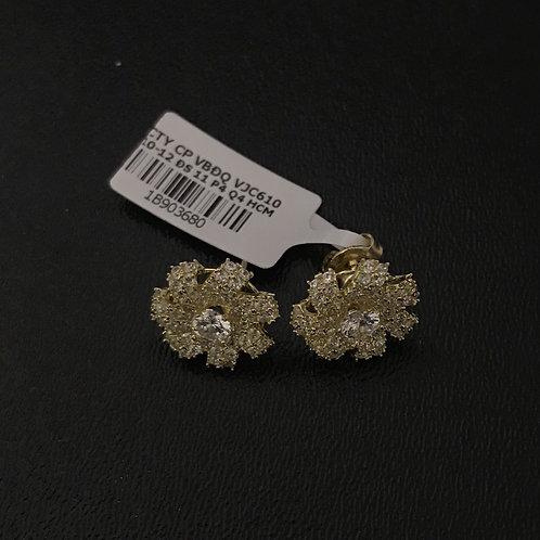 Bông tai vàng hoa đá trắng VJC 610