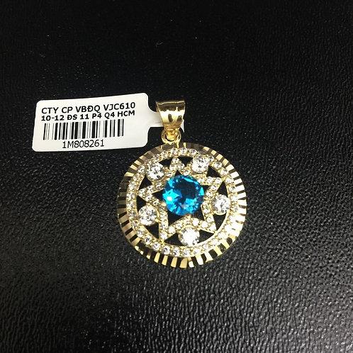 Mặt dây chuyền vàng ngôi sao đá Xanh nước biển VJC 610