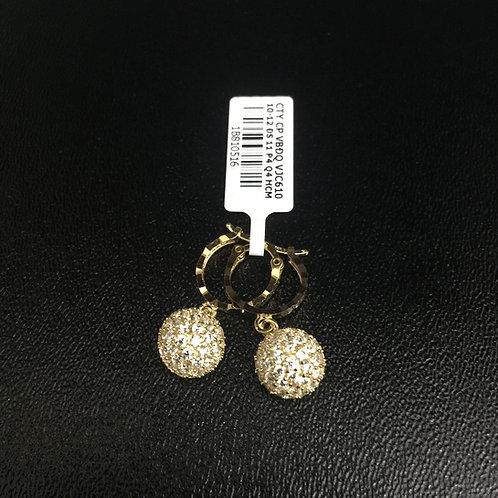 Bông tai vàng trái châu đá trắng VJC 610