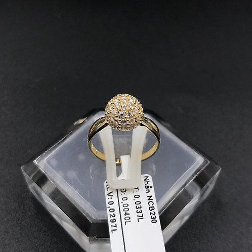 Nhẫn nữ trái châu vàng đá trắng