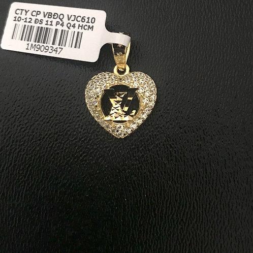Mặt dây tim LV vàng đá trắng VJC 610
