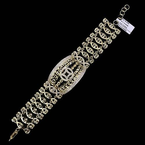 Lắc tay đồng tiền vàng đá trắng VJC 610