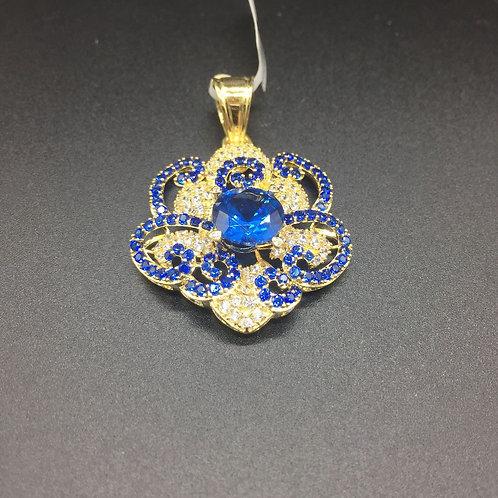 Mặt dây chuyền vàng nữ đá xanh nước biển VJC 610