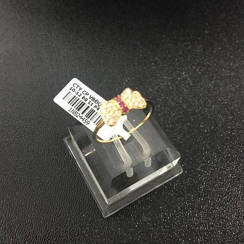 Nhẫn vàng nữ nơ đá đỏ VJC 610