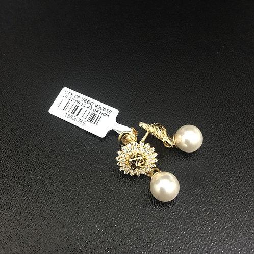 Bông tai vàng nữ hột bẹt VJC 610
