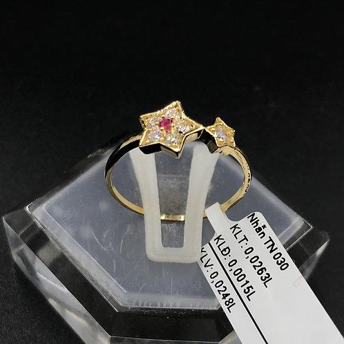 Nhẫn nữ ngôi sao vàng đá đỏ