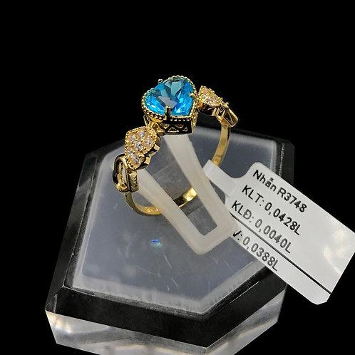Nhẫn nữ tim vàng đá Xanh biển VJC 610