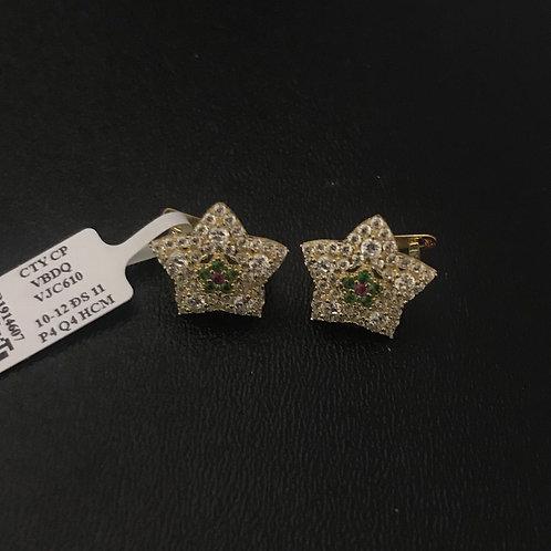 Bông tai ngôi sao vàng đá xanh lá VJC 610