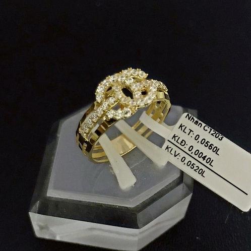 Nhẫn nữ chanel vàng đá trắng