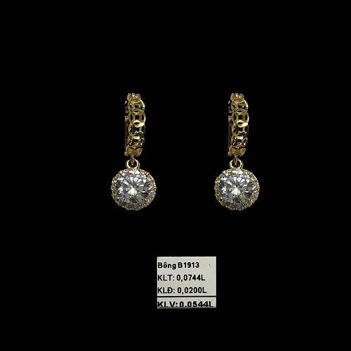 Bông tai vàng tòng teng đá trắng VJC 610