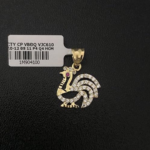 Mặt dây chuyền con gà vàng đá đỏ VJC 610